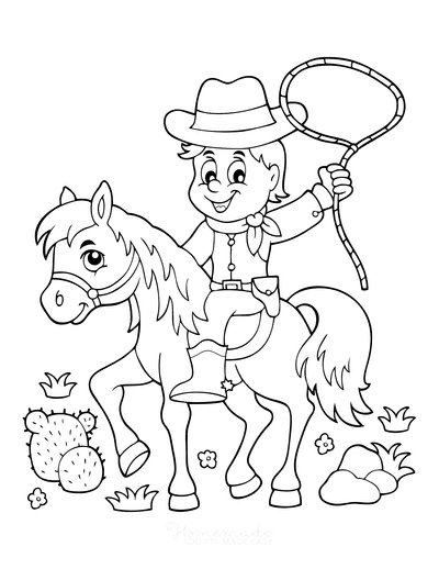 Horse Coloring Pages Cartoon Cowboy Lasso Cactus