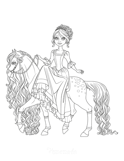 Horse Coloring Pages Cartoon Cute Beautiful Princess Flowing Mane