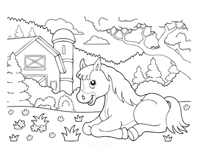 Horse Coloring Pages Cartoon Cute Horse Laying Down Farm