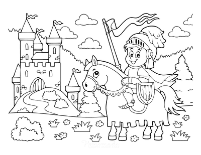 Horse Coloring Pages Cartoon Cute Knight Castle