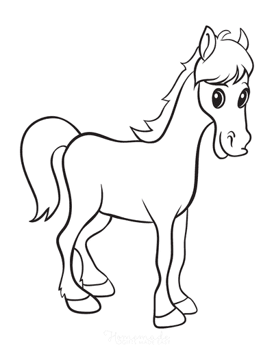 Horse Coloring Pages Cartoon Cute Large Eyes