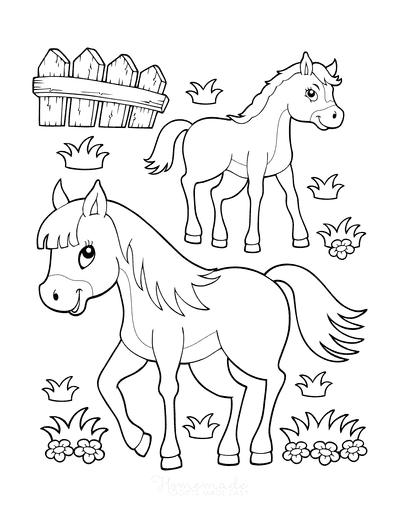 Horse Coloring Pages Cartoon Cute Mother Baby Foal