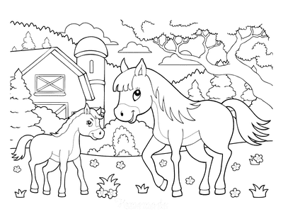 Horse Coloring Pages Cartoon Cute Mother Foal Farmyard