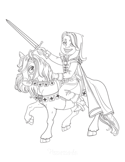 Horse Coloring Pages Cartoon Cute Prince With Sword