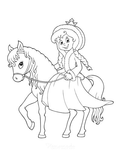 Horse Coloring Pages Cartoon Cute Princess Riding Horse