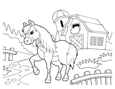 Horse Coloring Pages Cartoon Farm Horse Near Barn