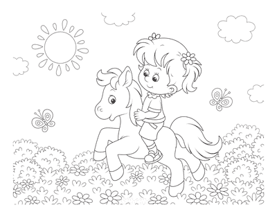 Horse Coloring Pages Cartoon Girl Riding Pony Flowers
