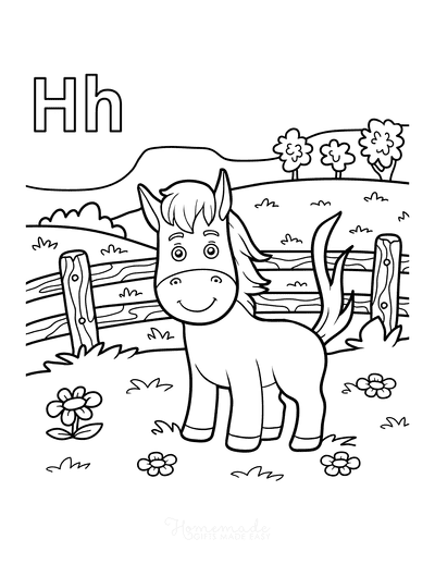 Horse Coloring Pages Cartoon H for Horse