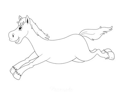 Horse Coloring Pages Cartoon Happy Galloping Running