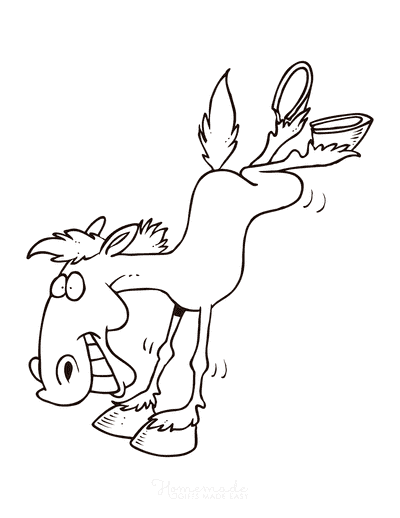 Horse Coloring Pages Cartoon Horse Bucking