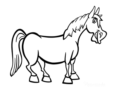 Horse Coloring Pages Cartoon Horse Smiling
