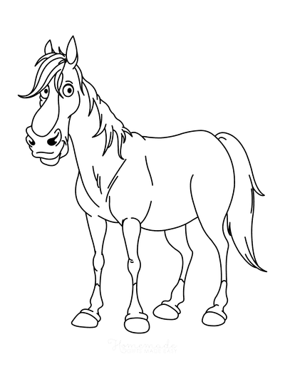 Horse Coloring Pages Cartoon Horse Standing