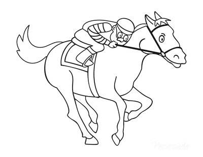 Horse Coloring Pages Cartoon Jockey Riding Horse