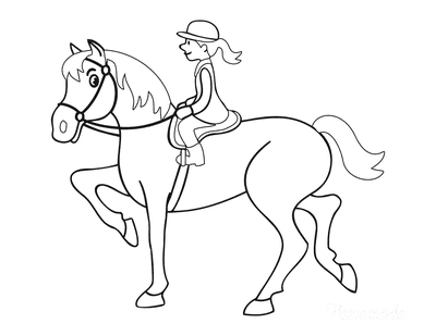 Horse Coloring Pages Cartoon Lady Riding
