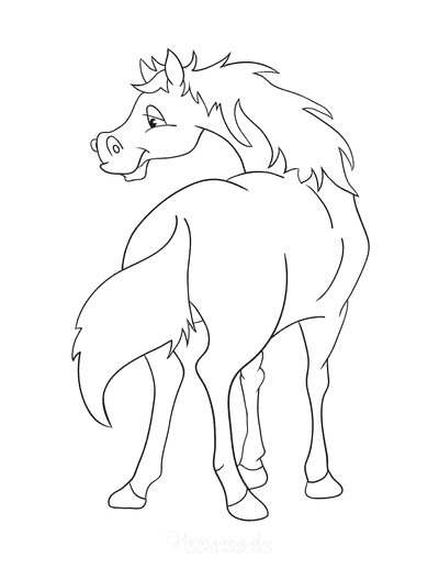 Horse Coloring Pages Cartoon Looking Behind