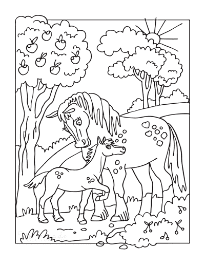 Horse Coloring Pages Cartoon Mother Foal Countryside