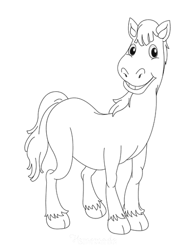 Horse Coloring Pages Cartoon Smiling Horse