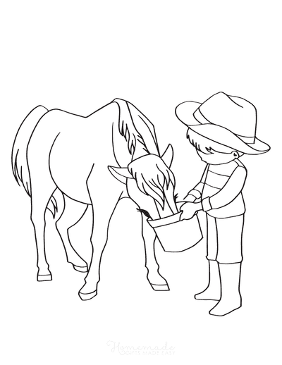 Horse Coloring Pages Child Feeding Horse Bucket