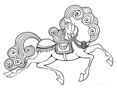 Horse Coloring Pages Circus Costume Swirly Mane
