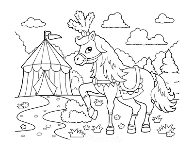 Horse Coloring Pages Circus Tent Costume