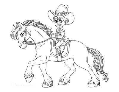 Horse Coloring Pages Cowboy on Horse With Flowing Mane
