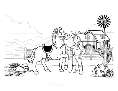 Horse Coloring Pages Cowgirl Farm Wild West