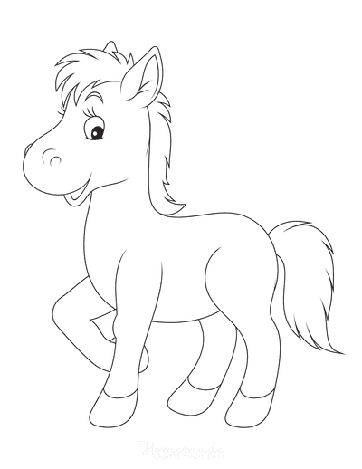 Horse Coloring Pages Cute Horse Outline Preschoolers