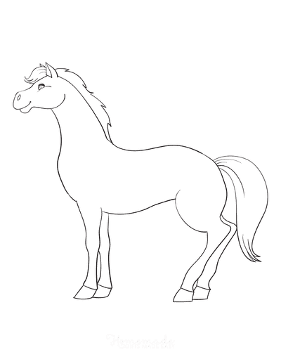 Horse Coloring Pages Cute Horse Outline Smiling