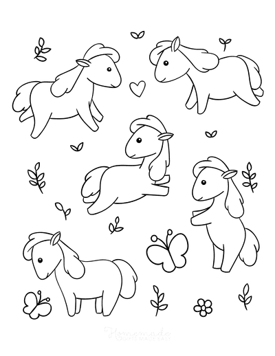 Horse Coloring Pages Cute Kawaii Mini Horses