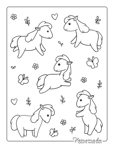 Horse Coloring Pages Cute Kawaii Mini Horses