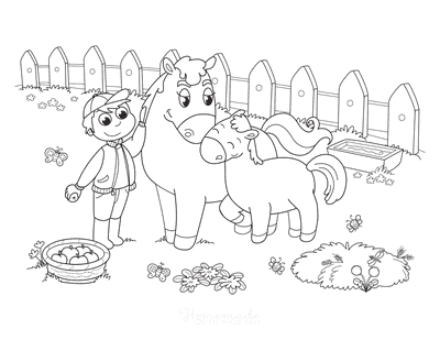 Horse Coloring Pages Cute Mother Foal Farm Yard