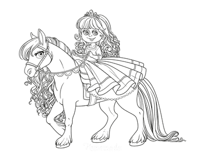 Horse Coloring Pages Cute Princess Riding Beautiful Horse