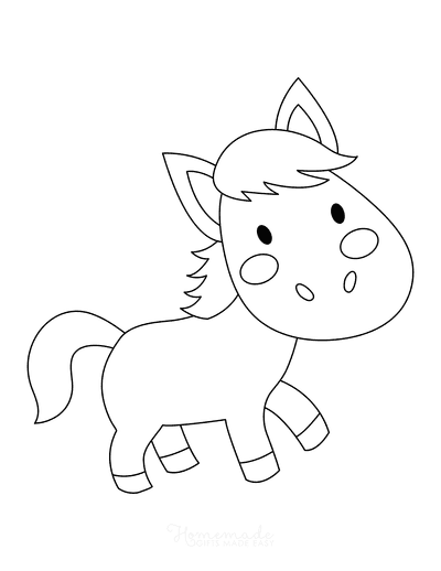 Horse Coloring Pages Cute Simple Preschoolers