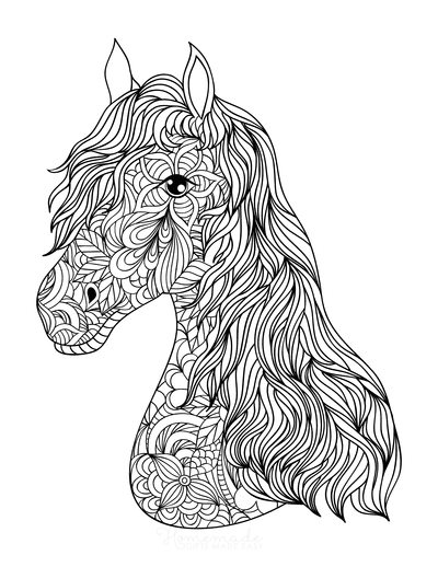 Horse Coloring Pages Decorative Patterned Head for Adults