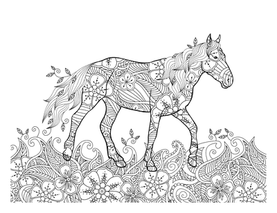 Horse Coloring Pages Detailed Pattern Doodle for Adults
