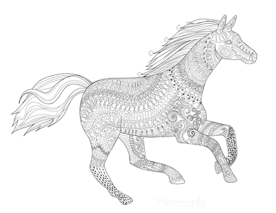 Horse Coloring Pages Detailed Pattern Galloping for Adults