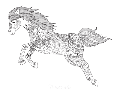 Horse Coloring Pages Detailed Pattern Jumping for Adults