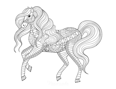 Horse Coloring Pages Flowing Mane Detailed for Adults