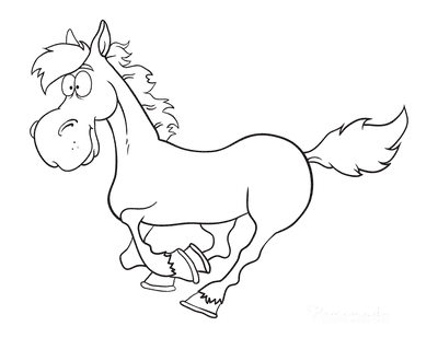 Horse Coloring Pages Funny Cartoon Galloping
