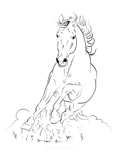Horse Coloring Pages Galloping Kicking up Dust