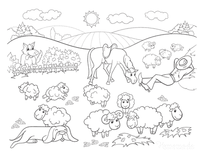 Horse Coloring Pages Grazing Field