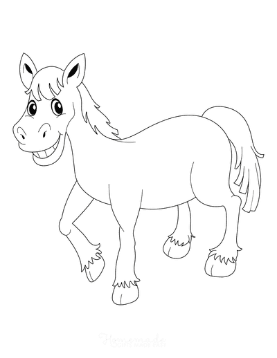 Horse Coloring Pages Happy Smiling Cartoon
