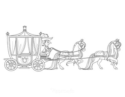 Horse Coloring Pages Horse Drawn Carriage