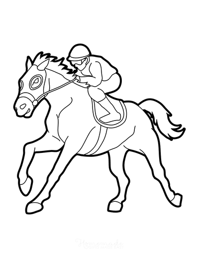 Horse Coloring Pages Horse Race Riding