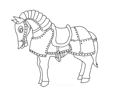 Horse Coloring Pages in Armor