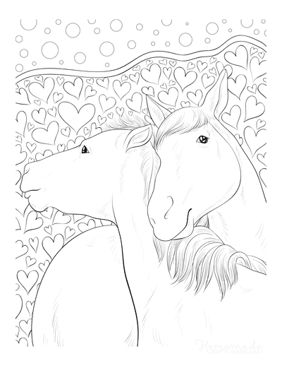 Horse Coloring Pages in Love Doodle