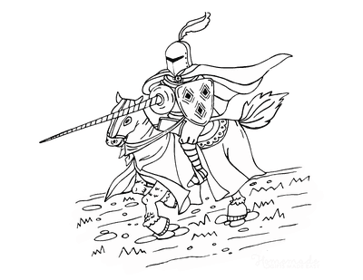 Horse Coloring Pages Knight Horse Armor Lance