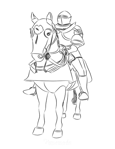 Horse Coloring Pages Knight Riding Horse
