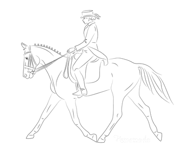 Horse Coloring Pages Lady Riding Elegant