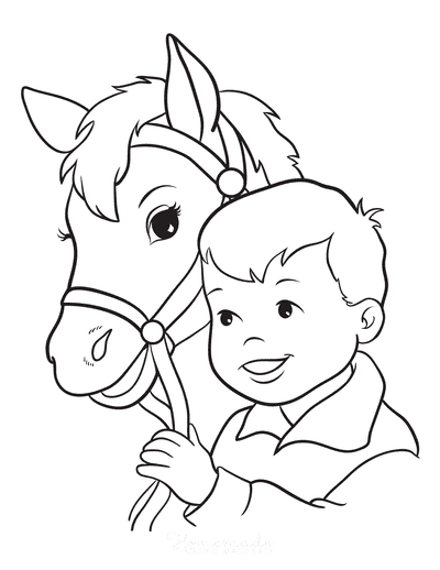 Horse Coloring Pages Little Boy Vintage Style
